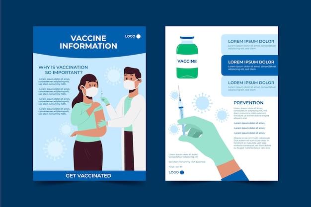 Folleto informativo de vacunación contra el coronavirus dibujado a mano