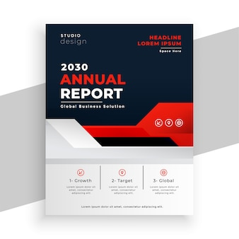 Folleto de informe anual de negocios moderno en tema de color rojo