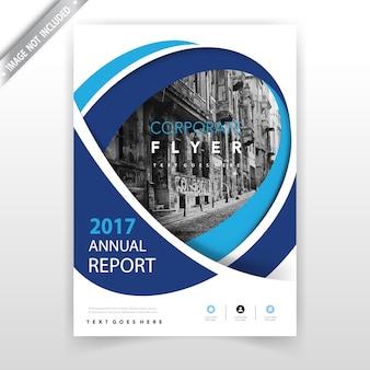 Folleto de informe anual ondulado azul