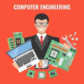 Folleto de ingeniería informática con el hombre en un traje con computadora portátil y herramientas para reparar ilustración vectorial