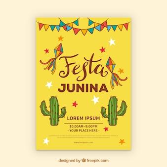 Folleto de invitación de fiesta junina con cactus y elementos