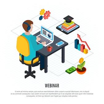 Folleto isométrico del seminario web