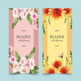 Folleto de jardín de flores con caléndula, ilustración acuarela clavel.