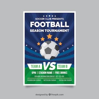 Folleto de liga de fútbol con balón en estilo plano