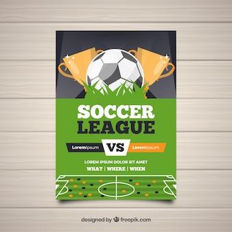Folleto de liga de fútbol con balón y trofeos
