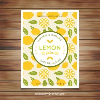 Folleto de limones y hojas dibujados a mano