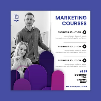Folleto de marketing cuadrado comercial