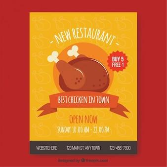 Folleto de menú de restaurante con pollo