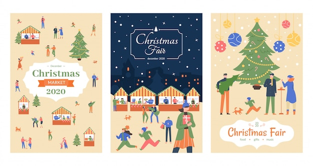 Folleto del mercado de vacaciones. carteles de la feria de navidad, invitación de vacaciones de mercado de diciembre, calle comercial navidad decorado conjunto de carteles de ilustración de puestos al aire libre. anuncio del festival de año nuevo