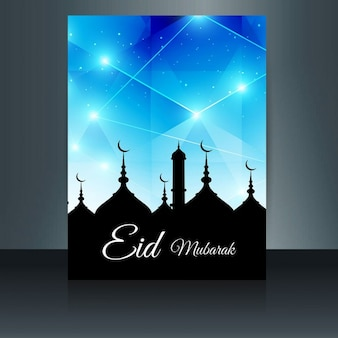 Folleto moderno de eid mubarak en color azul