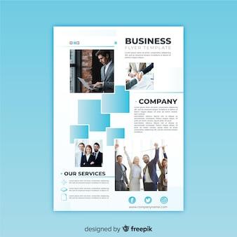 Folleto moderno de negocios con mosaico de fotos