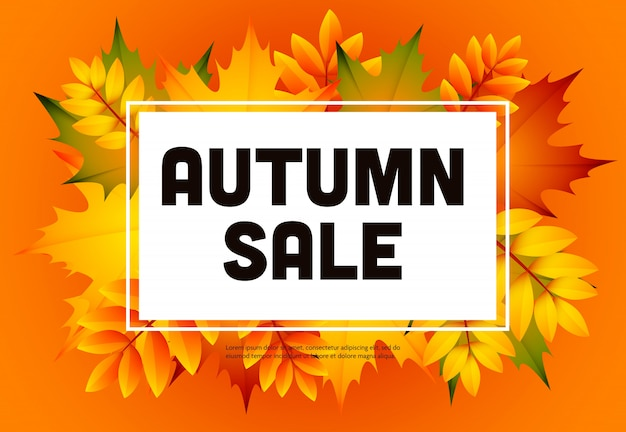 Folleto naranja de otoño venta con montón de hojas