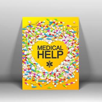Folleto naranja de tratamiento médico con pastillas de colores, pastillas, cápsulas, cápsulas e ilustración en forma de corazón