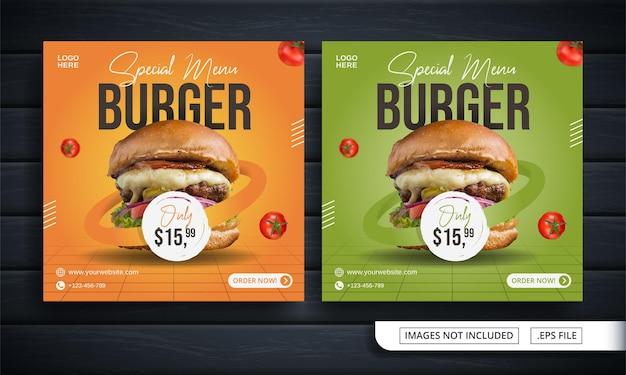Folleto naranja y verde o banner de redes sociales para publicación de venta de hamburguesas