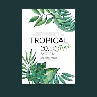 Folleto de naturaleza tropical con hojas exóticas