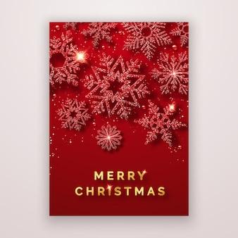 Folleto navideño con brillantes copos de nieve y confeti