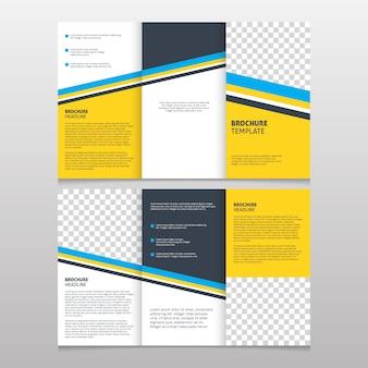 Folleto de negocios con diseño geométrico amarillo