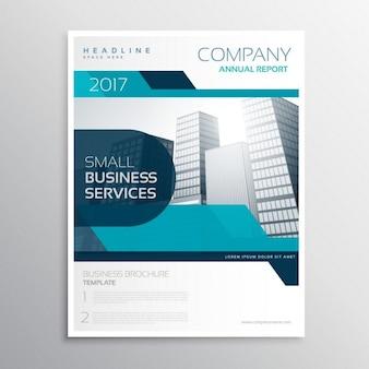 Folleto de negocios con formas geométricas azules