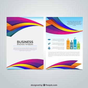 Folleto de negocios con formas onduladas de colores
