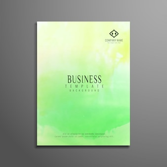 Folleto de negocios moderno verde de acuarela
