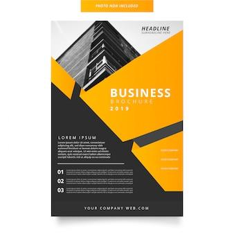 Folleto de negocios modernos con formas abstractas.