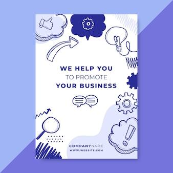 Folleto de negocios monocolor doodle