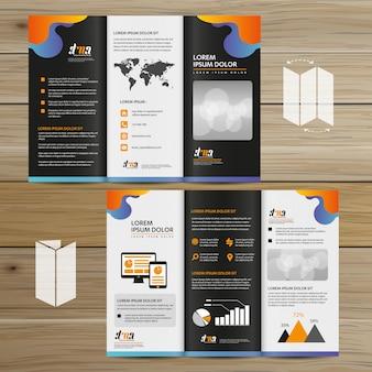 Folleto de negocios tri fold leaflet flyer diseño vectorial