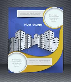 Folleto o folleto comercial azul. plantilla con la ciudad y el mapa del mundo.