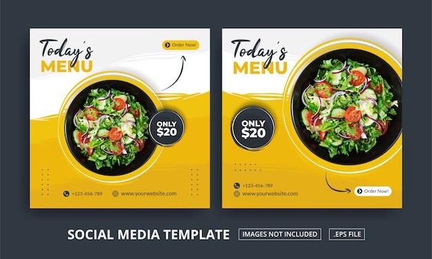 Folleto o menú de comida temática de publicación en redes sociales