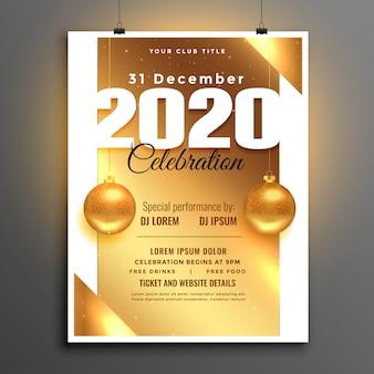 Folleto o póster de celebración de fiesta de año nuevo dorado hermoso de 2020