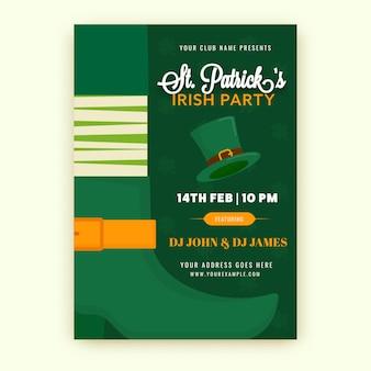Folleto o tarjeta de invitación de la fiesta irlandesa de st. patrick con detalles del evento en color verde