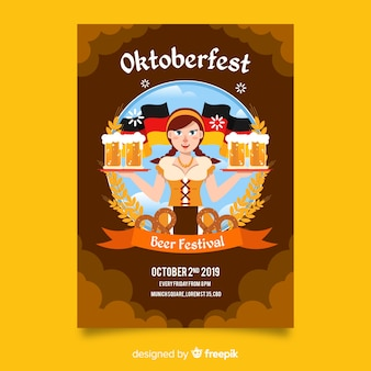 Folleto de oktoberfest dibujado a mano
