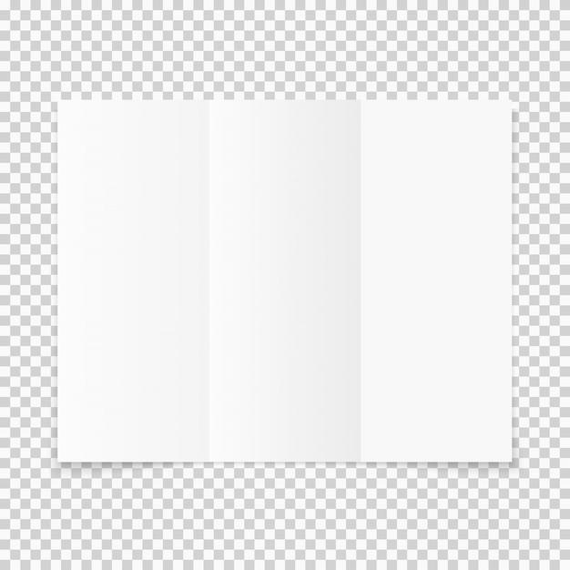 Folleto de papel tríptico blanco en blanco con sombra