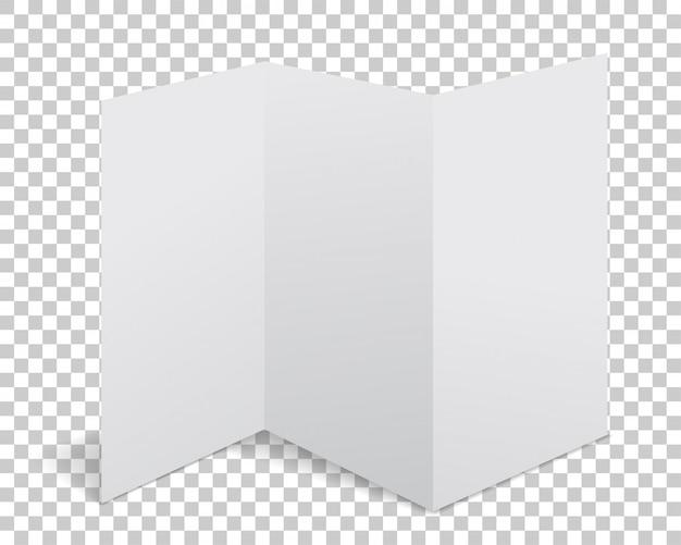 Folleto de papel de vector con sombra realista. página en blanco blanca aislada sobre fondo. simulacros de plantilla.