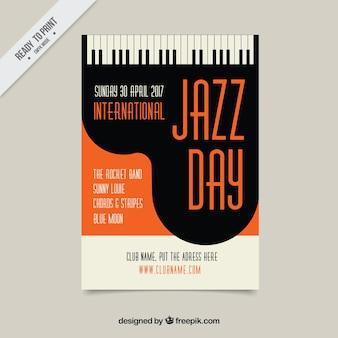 Folleto de piano de jazz en estilo vintage