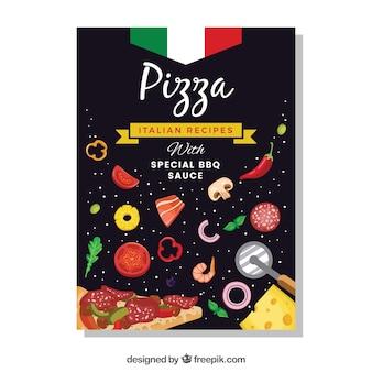 Folleto de pizza con ingredientes