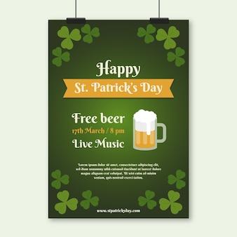 Folleto plano del día de san patricio con cerveza gratis
