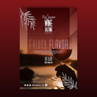 Folleto de plantilla de cata de vinos