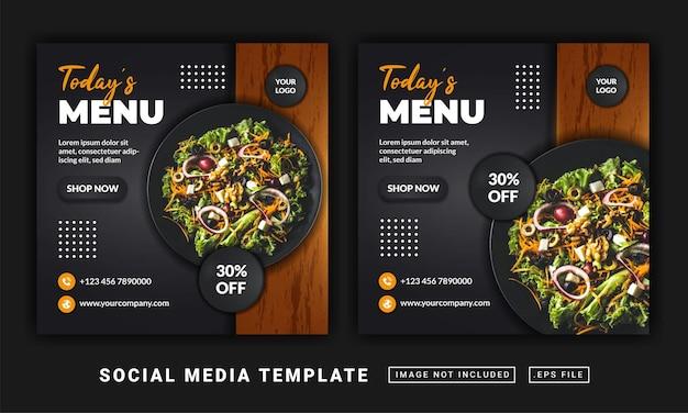 Folleto de plantilla de menú o publicación en redes sociales.