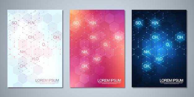 Folleto de plantilla o cubierta con antecedentes de química abstracta de fórmulas químicas y estructuras moleculares. concepto de ciencia e innovación tecnológica.