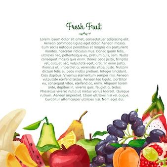 Folleto de plantilla o volante con un diseño decorativo hecho de frutas en estilo acuarela.
