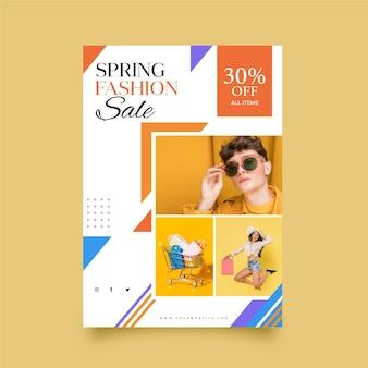 Folleto de plantilla de venta de primavera con foto