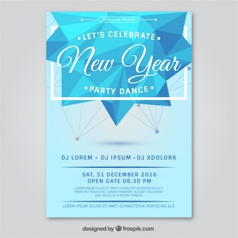 Folleto poligonal de fiesta de año nuevo