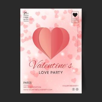 Folleto / póster borroso de la fiesta de san valentín