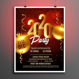 Folleto de póster de fiesta de año nuevo 2020 en colores rojo y dorado