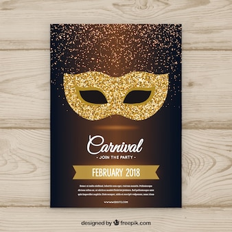 Folleto/poster hecho a mano de fiesta de carnaval