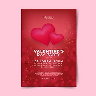 Folleto / póster plano de fiesta de san valentín