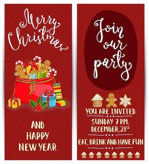 Folleto de promoción brillante para la fiesta de navidad del club