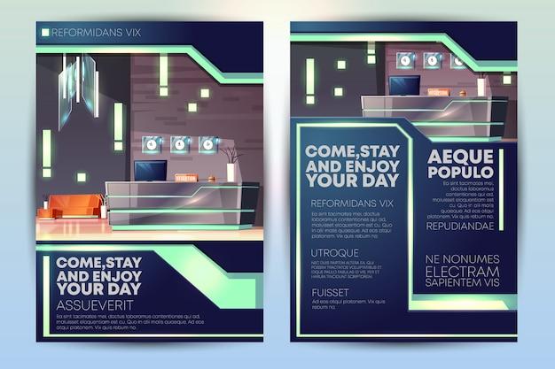 Folleto de promoción de hotel de lujo o plantilla de folleto de dibujos animados con mostrador de recepción en hotel