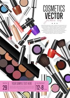 Folleto promocional de cosméticos con fecha y hora